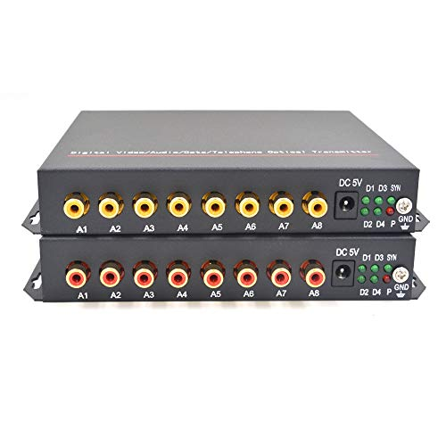 Guantai 8 Channels Audio to Fiber Optic Media Converters Transmitter and Receiver - Long Distance Singlemode Fiber up 20Km