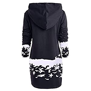 Tosonse Ugly Christmas Dresses for Women Reindeer Printed Loong Sleeve Hooded Mini Dress