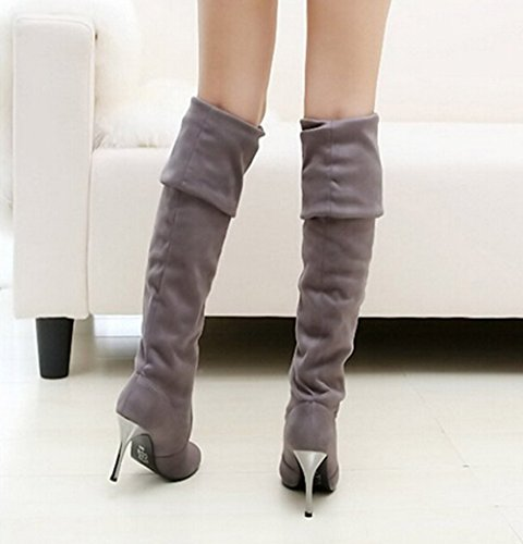 Knee Boots High Over Heel Boots Grey Shoes Thigh Stretchy Dress Women ECnRRq
