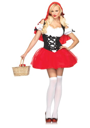 Little Red Riding Hood Costumes Halloween (Leg Avenue Women's Racy Red Riding Hood Costume, Red/Black, Small/Medium)