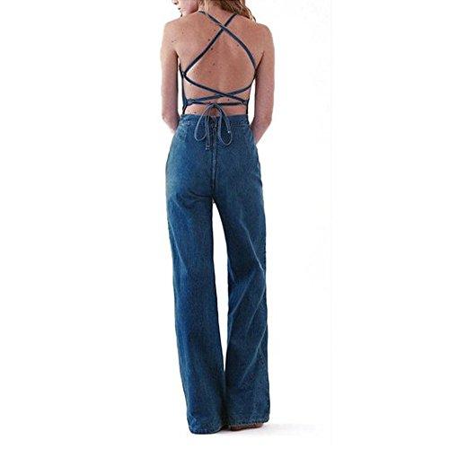 Preself Women's Cross Backless Denim Romper Wide Leg Long Pants Jumpsuit Clubwear (6)