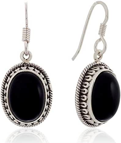 925 Sterling Silver Black Onyx Gemstone Oval Rope Edge Vintage Dangle Hook Earrings 1.4