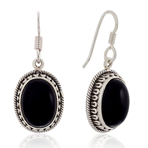 925 Sterling Silver Black Onyx Gemstone Oval Rope Edge Vintage Dangle Hook Earrings 1.4