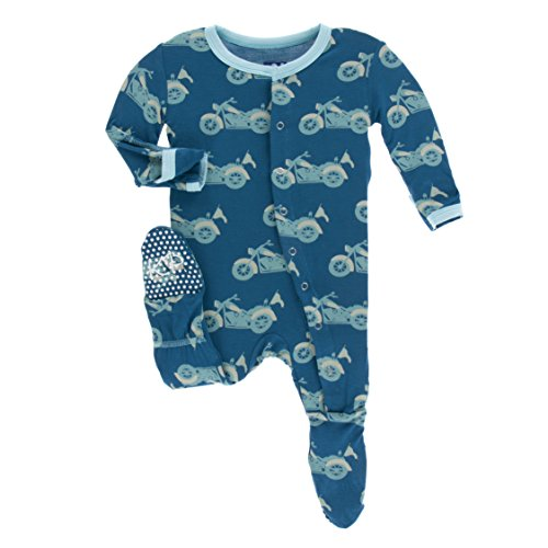Kickee Pants Little Boys Print Footie With Snaps - Heritage Blue Motorcycle, 9-12 Months ()