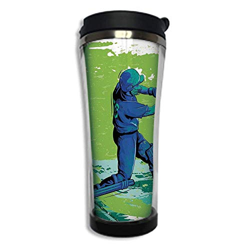 (Customizable Travel Photo Mug with Lid - 14.2OZ(420 ml) Stainless Steel Travel Tumbler, Makes a Great Gift by,Sports,Cricket Player Pitching Win Game Champion Team Paintbrush Effect,Navy Blue Turquois)