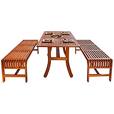 Malibu V189SET13  Eco-Friendly 3 Piece Wood Outdoor Dining Set with Curvy Table and Backless Benches