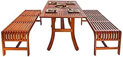Malibu V189SET13 Eco Friendly 3 Piece Wood Outdoor Dining Set With Curvy  Table And Backless