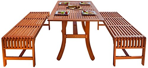 Malibu Patio Set - Malibu V189SET13  Eco-Friendly 3 Piece Wood Outdoor Dining Set Curvy Table Backless Benches