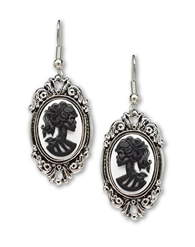 Cameo Set Earrings (Gothic Lolita Skull Cameo Dangle Earrings Black on White In Silver Finish Frame)