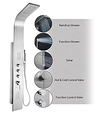 "AKDY AZ-9878B 58"" Rainfall Shower Panel Tower System with Simultaneous Overhead Rainfall, Body Massage Jets and Handheld Shower, Stainless Steel"