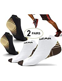 Physix Gear Sport Compression Socks for Men & Women - Best Athletic Low Cut Running Socks with No Show Ankle Design - Premium Quality Stitching All Day Comfort - Boost Stamina Circulation & Recovery