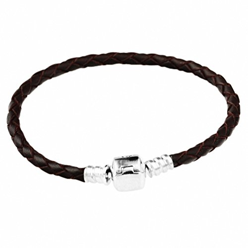 925 Sterling Silver Leather Dark Brown Bracelet Bracelet for Charms 19CM CHANGEABLE