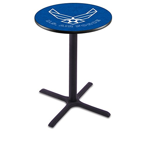 """Holland Bar Stool Co. L214C36 36"""" Tall Chrome United States Military Air Force Licensed Pub Table, Blue, 28"""""""