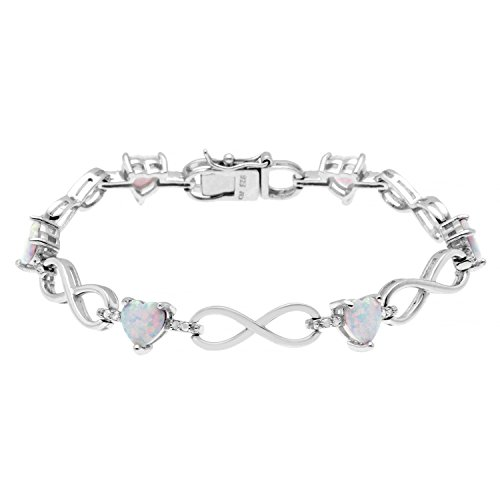 - JewelExclusive Sterling Silver .25 CTTW diamond 7.5in heart lab opal infinity bracelet