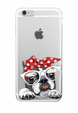 iPhone 8 / 7 Compatible, Cat Dog Cute Series Colorful Rubber Flexible Silicone Case Bumper for Apple Clear Cover - Red Ribbon White Glasses Nerd Tongue Out Cute Frenchie Dog]()
