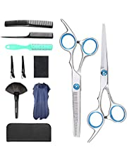 Professional Hair Cutting Scissors Set 11 PCS Hairdressing Haircut Scissors Kit, Thinning Shears, Hair Razor Comb, Hair brush, Cape, Combs, Clips, Scissors pack, for Barber, Salon and Home (Blue)