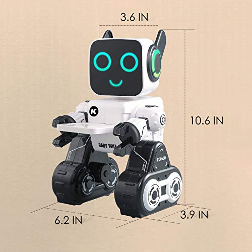 IHBUDS Remote Control Toy Robot for Kids,Touch & Sound Control, Speaks, Dance Moves, Plays Music. Built-in Coin Bank. Programmable, Rechargeable RC Robot Kit for Boys, Girls All Ages - White/Black by HBUDS (Image #8)