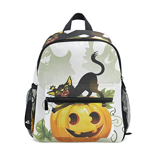 Mini Backpack Black Cat On Halloween Pumpkin And Ghost School Bag Lightweight]()
