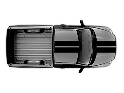 10 Inch Rally Stripes - 10 Inch Double Center Rally Racing Stripes Carbon Fiber Vinyl, Fits Dodge Ram Pickup Truck, Black