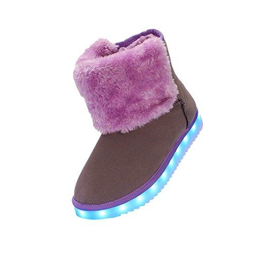 ACMEDE - Chaussures LED Lumineuses Bottes de Neige Pour Femme Fourrure Chaudes Souples En Hiver Snow Boots