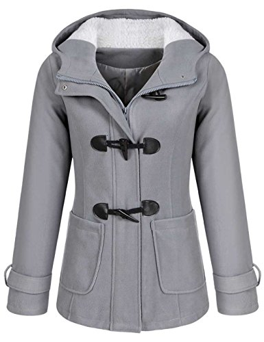 online retailer 02d32 a3a99 CRAVOG Damen Wollmantel Wintermantel Dufflecoat Wolljacke Mantel mit Kapuze  Parka Trenchcoat warm