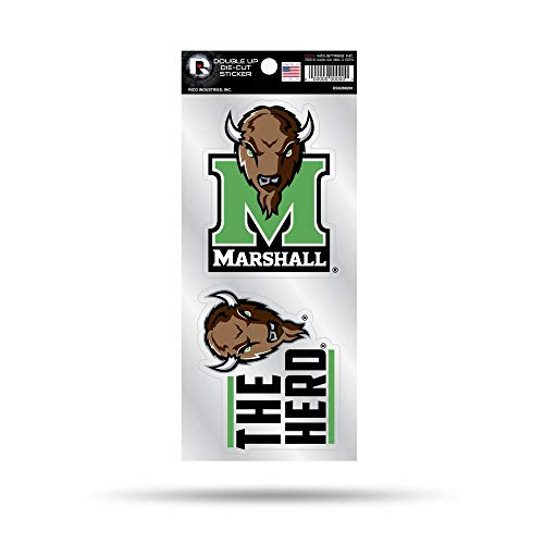 (Rico Industries, Inc. Marshall Thundering Herd Double UP 2-Pack Decal Sheet Slogan Sticker Auto Home Emblem University of)