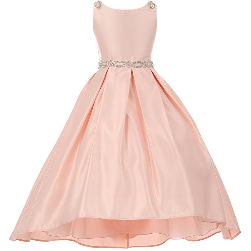 CrunchyCucumber Big Girls High Low Pleated Satin Jewelled Waist Embellished Shoulders Dress Blush - Size 16 ()