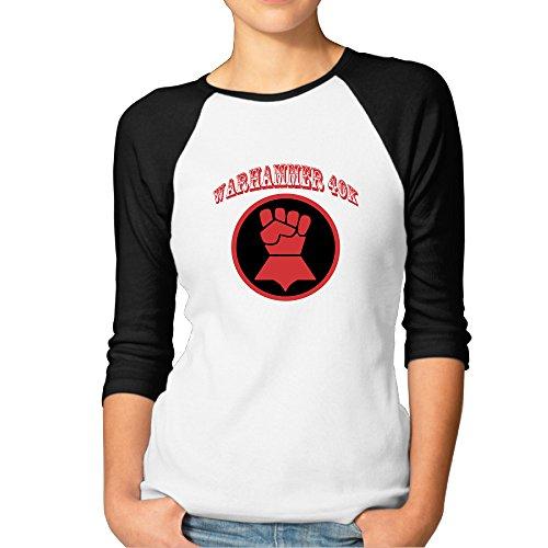 ZOENA Women's Three Quarter Sleeve Tshirts - Miniature Wargame Game Poster Black XL