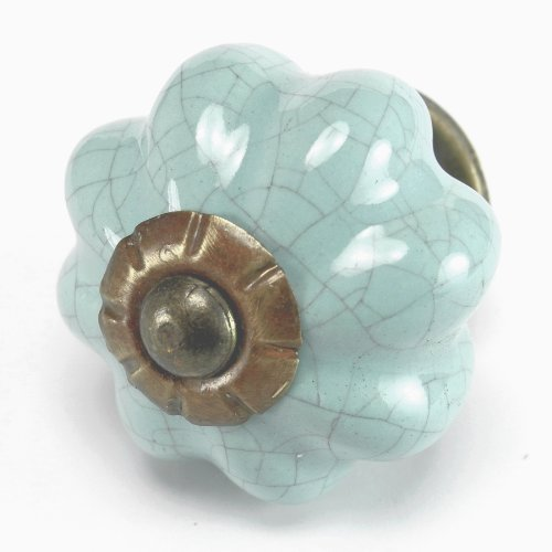 Blue Crackle Ceramic Knob, Kitchen Drawer Pulls, Handles Set/2pc ~ C39RL Hand Glazed Vintage Melon Style Knobs with Antique Brass Hardware for Dresser Drawers, Cabinets & Vanity