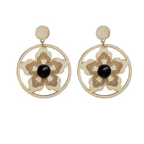 Yanvan Wooden Dangle Stud Earrings - Girls Women Ladies Temperament Wooden Earrings Fresh and Gentle Earrings Wedding Party Decor