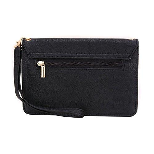 Conze Mujer embrague cartera todo bolsa con correas de hombro compatible con Smart teléfono para Archos 45Titanium/45C Platinum negro negro negro