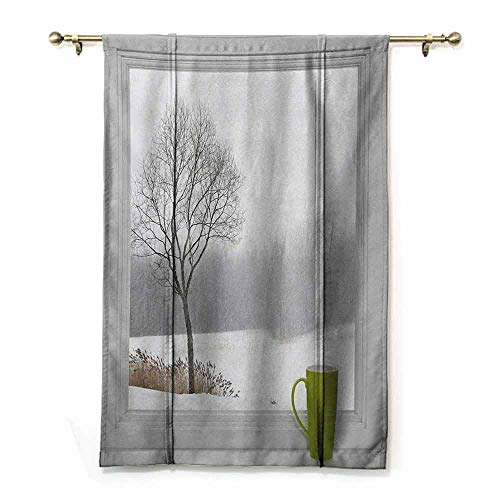 HCCJLCKS Printed Roman Curtain Winter Green Teacup on Windowsill Forest Outdoors Snowstorm Scenic Countryside Bedroom Balcony Living Room Apple Green Beige White W27 xL64 (Best Sander For Window Sills)