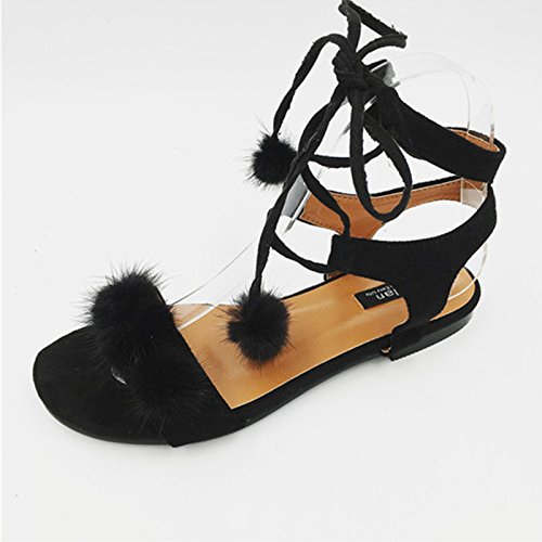 zapatos Nuevas de correa pelo verano sandalias la atractiva la lindos bola alineados Black ZHZNVX del de del planos 1zdwzF