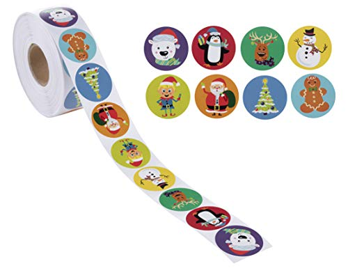 Holiday Stickers - 1000-Count Christmas Sticker Roll for Kids, Reward Stickers for Students, Envelope Seals, Scrapbook, Winter Holiday Party Supplies, Goodie Bags, 8 Designs, 1.5 Inches Diameter]()