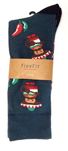 Novelty Fine Fit Crew Socks - Mix Prints (Green Mariachi Chili Pepper) by Fine Fit (Image #1)