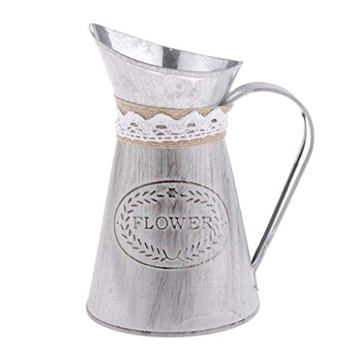 - GogoForward Country Primitive Vintage Style Metal Jug Flower Vase Watering Cans with Tied and Linen, Chic Rustic Pitcher Flower Planter for Garden and Home Décor