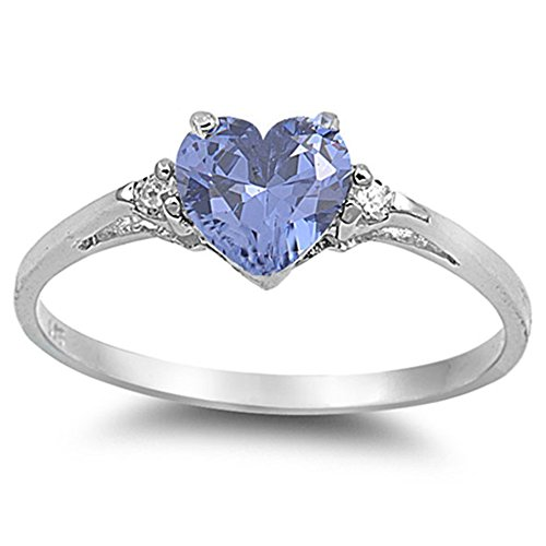 Simulated Tanzanite Heart & Cz .925 Sterling Silver Ring Size - Tanzanite Silver Rings