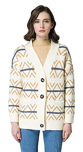 Women's Long Sleeve Snap Button Down Solid Color Knit Ribbed Neckline Cardigans(Beige Medium/US 2-8)