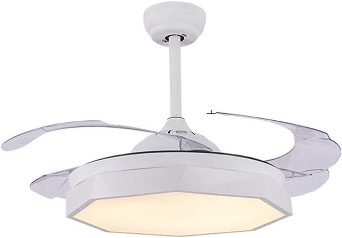 Lámpara LED invisible para ventilador de techo, 4 aspas retráctiles, ventilador de techo con tres colores cambiantes, lámpara colgante para restaurante, dormitorio, sala de estar, comedor: Amazon.es: Iluminación