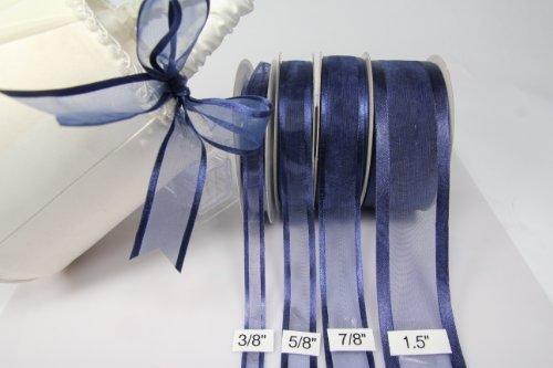 Navy Blue Organza Ribbon With Satin Edge-25 Yards X 7/8 Inch