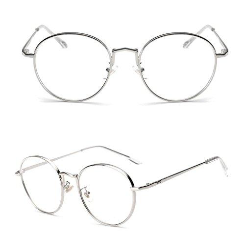 Redriver Clear Lens Glasses Vintage Oval Metal Women Men Artistic Frame Plain Eyewear - Ban Circle Eyeglasses Ray