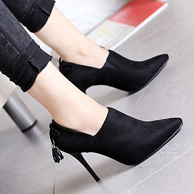 pwne Bottes Hiver Mary Jane Talon occasionnels PU Feather Black US5 / EU35 / UK3 / CN34