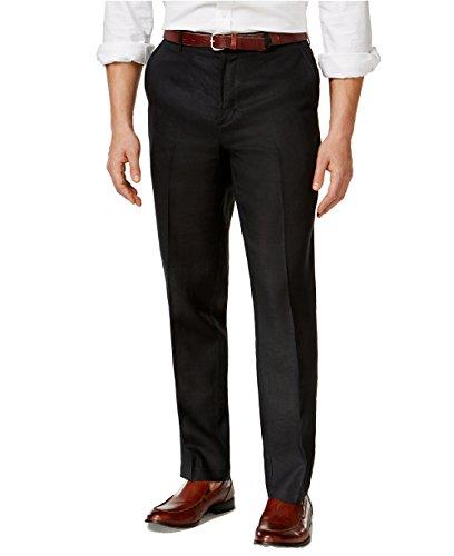 Big And Tall Formal Wear (Tasso Elba Men's Island Big and Tall Flat Front Linen Pants (Black, 44 Big))