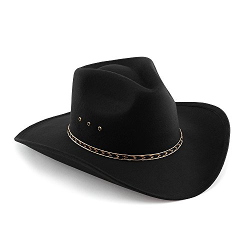 Western Pinch Front Faux Felt Cowboy Hat - Black Elastic Band L/XL -