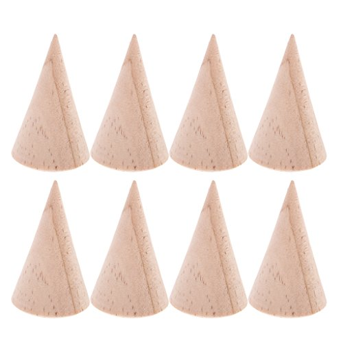 Jili Online 8 Pieces Unfinished Wood Display Ring Stand Crafts Unfinished 5cm DIY Jewelry by Jili Online (Image #2)