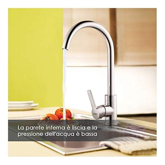 Miscelatore Cucina Alto Girevole a 360 ° in Acciaio Inox, Acqua Fredda e Calda INTEY