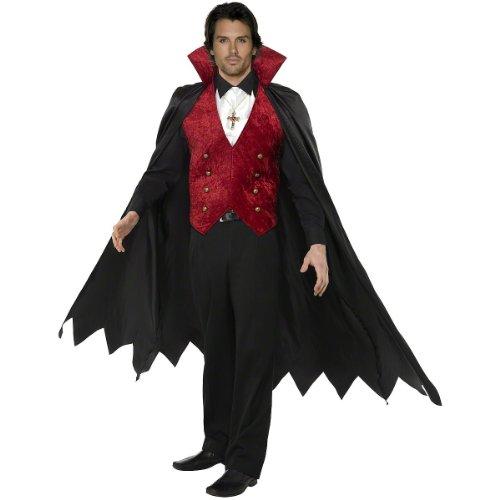 Smiffy's Men's Fever Vampire Costume, Waistcoat, Cape and Cravat, Halloween, Fever, Size L, 29991 (Sexy Male Vampire Costume)