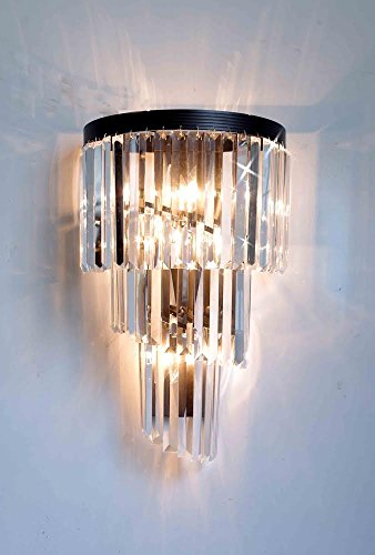 Retro Palladium Crystal Glass Fringe Helix 3 Tier Spiral Wall (Chateau Crystal Sconce)
