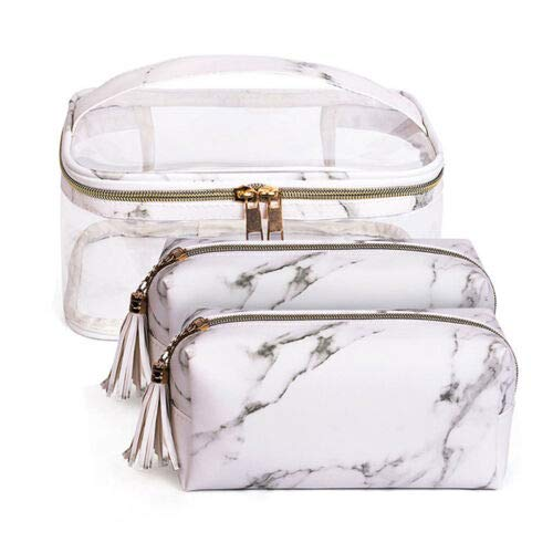 (3pcs/set Multifunction Marble Makeup Bag Travel Cosmetic Box Toiletry Pouch Case (Color - A))
