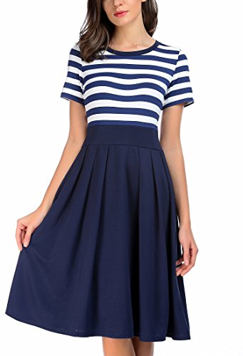 CARTERSTORY Women's Vintage Stripe Scoop Neck Short Sleeve Swing Dress
